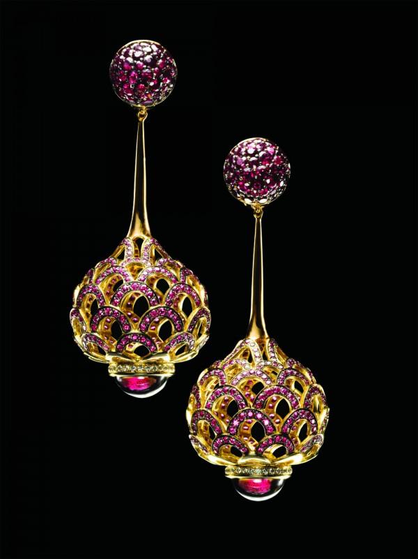Серьги цветок золото бриллианты